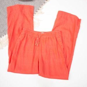 ✨crown & ivy   Beach Linen Orange Wide Leg Pants